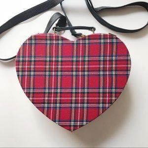 red plaid heart crossbody purse